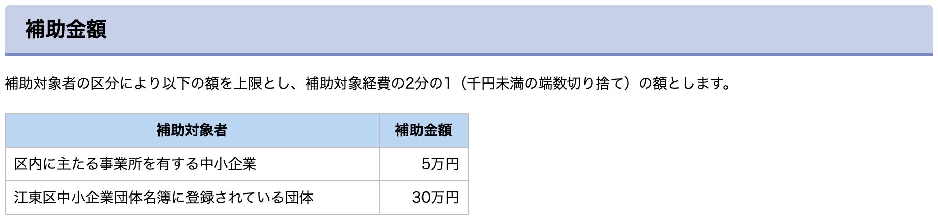 東京都江東区のホームページ制作補助金
